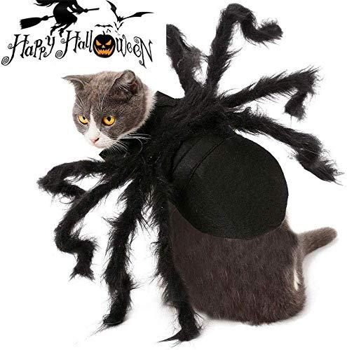 Lesgos Haustier Spinne Kostüm, Halloween Pet Spider Kleidung mit Verstellbarer Neck Paste Schnalle, Horror Simulation Plüsch Spinnen Dress Up Party Performance Kleidung für Katzen, Hunde (M)