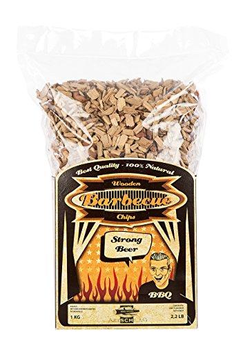 Axtschlag Räucherchips Bier, 1000 Gramm sortenreine Räucherspäne für besondere Rauch- und Geschmackserlebnisse, für alle Grills