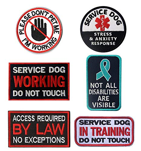 Antrix 6 Pcs Service Dog Working in Training Do Not Touch Pet Stress & Anxiety Response Access Required by Law No Exceptions Tactical Hook & Loop Morale Patch for Medium and Large Dogs Vests/Harness