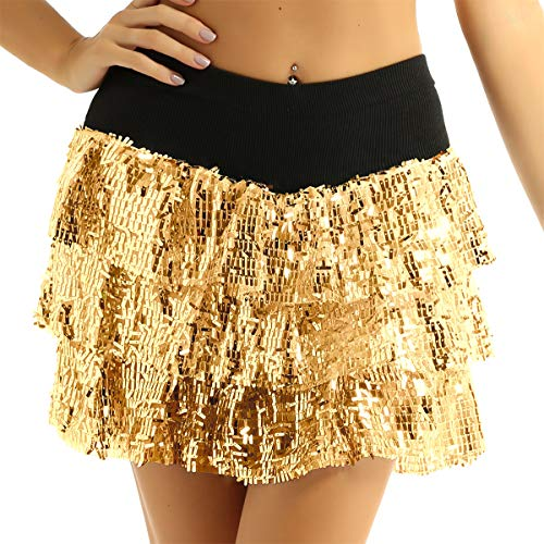 ACSUSS Womens Glitter Ballet Tutu Dance Sparkle Sequin Running Skirt Race Costume Gold OneSize