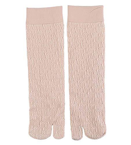 4 pares Mujeres Medias de seda de dos dedos Chanclas japonesas Calcetines Calcetines transpirables casuales, Patrón de rombos