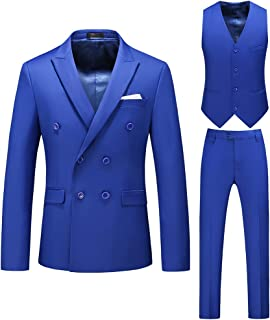 Men's Suits 3 Piece Slim Fit Wedding Tuxedo Suit Double Breasted Solid Color Formal Suit Notch Lapel Dress Blazer Business...