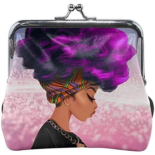 Paarse haarkleur African Woman Classic gesp portemonnee leder Ki_ss-Lock wisselbeurzen
