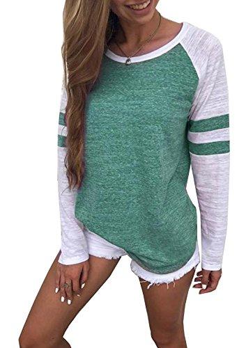 GenericHiistandd Damen Langarmshirt Farbblock Langarm T-Shirt Casual Rundhals Tunika Tops , Grün, XL