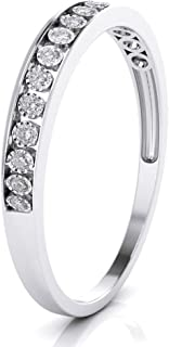 10k White Gold 3mm Channel Set Diamond Band Wedding Anniversary Ring (0.15 ct I-J Color Clarity Si2) (White-Gold 7)