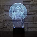 Only 1 pcs Animal Manatee 3D Lamp Touch Sensor RBG Bedroom Decorative Lamp Child Kids Baby Kit Nightlight sea cow Led Night Light Sirenia