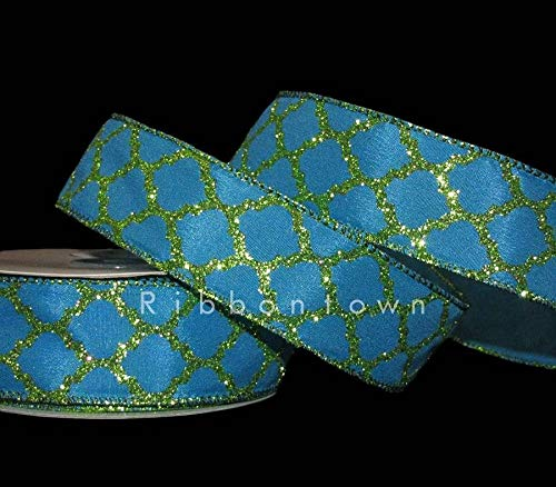 5 Yards Blue Green Glitter Quatrefoil Peacock Mermaid Colors Wired Ribbon 1 1/2'  by Byndgreenstore