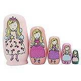 vingi 5 Pieces Cute Nesting Dolls Matryoshka Doll Russian Handmade Wooden Dolls Cartoon Angel Girl Pattern Toy Gift 6' Tall