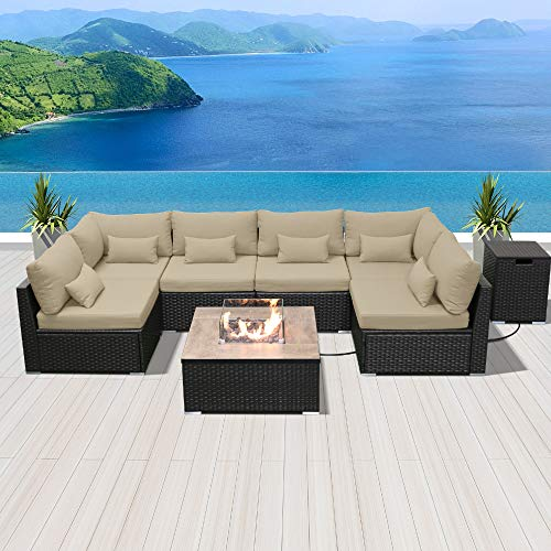 DINELI Patio Furniture Sectional Sofa with Gas Fire Pit Table Outdoor Patio Furniture Sets Propane Fire Pit (Light Beige-Square Table)