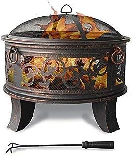 Jinfa Feuerschale mit Grillrost, Funkenschutz und Schürhaken inklusive – Feuerkorb und Feuerstelle mit Durchmesser66cm Durchmesser für Garten, Draußen, Terrasse, Grillparty und Gartengrill