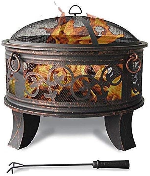 Braciere e grill in acciaio per giardino, bbq, esterno griglia protettiva per cucinare e attizzatoi jinfa FT-51219BT