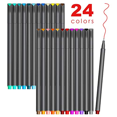 Colored Journaling Pens, Fine Line Point Drawing Marker Pens for Writing Journaling Planner Coloring Book Sketching Taking Note Calendar Art Projects Office School Supplies (24 Colors)