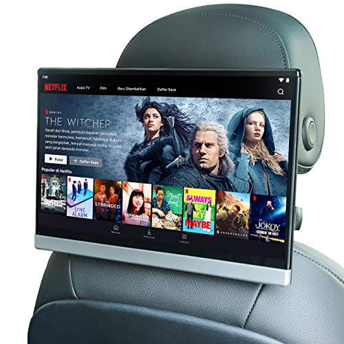 13.3 Inch Android 9.0 Universal Car TV Headrest Monitor Touch Screen Support 4K 1080P Headset WiFi/Bluetooth/USB/SD/HDMI in/Out/FM/Mirror Link Video Player (4G ram 64G ROM (1PC))