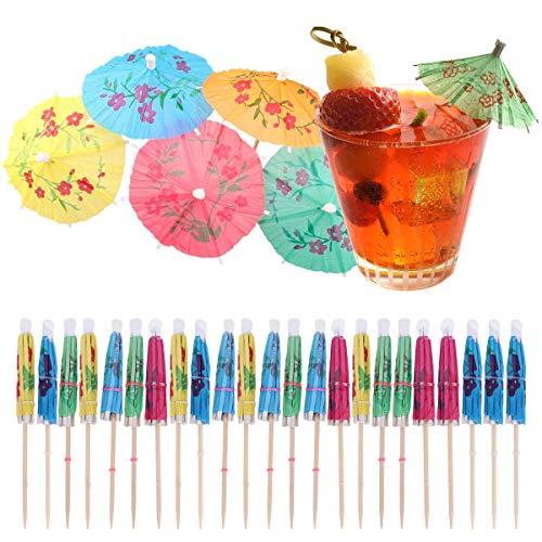 100 piezas Sombrillas de Cóctel,Pajas Decoración de Cóctel,Parasoles de Papel Colorido,Paraguas de cóctel Sombrillas,para Cocktail Bebidas Tropicales Fiesta de Cumpleaños Celebración Bodas (24CM)