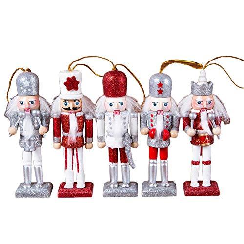 Weihnachten Holz Nussknacker Ornamente Set, 5 Stück dekorative Nussknacker Figur, Weihnachten Mini Holz König und Soldat NussknackerWeihnachtsbaum Anhänger Geschenk für Wohnkultur (12 cm)