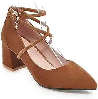 BalaMasa Womens APL11781 Pu Block Heels
