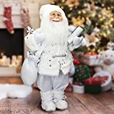 ECD Germany Weihnachtsmann aus Polyresin, 24 x 14 x 47 cm, Weiß, Winter, Tischdeko, Winterdeko, Weihnachten, Figur, Dekoration, Santa Claus, Nikolaus, Deko-Figur, Weihnachtsdekoration
