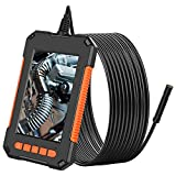 Endoscopio Industrial, 8mm 1080P HD Cámara de Inspección con Pantalla IPS de 4,3', Cámara de Endoscopio Impermeable con 8 Luces Led Ajustable, Snake Semirrígido Tubo, Tarjeta TF de 32GB