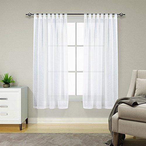 TOPICK Voile Vorhang mit Stangendurchzug transparent Gardine 2 Stücke Gaze paarig Fensterschal Vorhänge 145 cm x 140 cm(H x B),2er-Set,Weiß