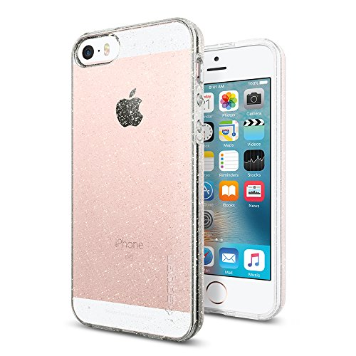 Spigen Liquid Air Glitter für iPhone SE 2016/5S/5 Hülle Glitzer Silikon Bumper Style Handyhülle, Schutzhülle Case Cover Crystal Quartz 041CS21959