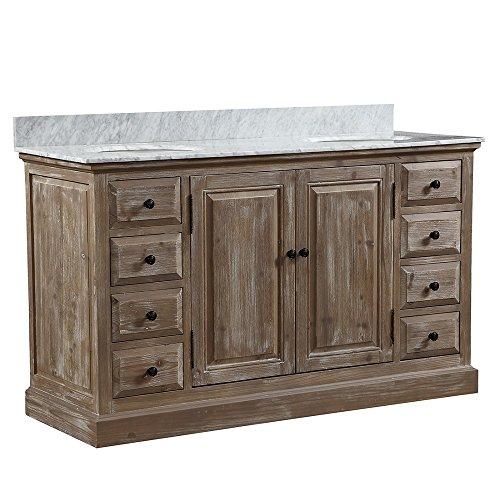 InFurniture WK1860+CW TOP Double Sink Bathroom Vanity, Driftwood, 2 Boxes