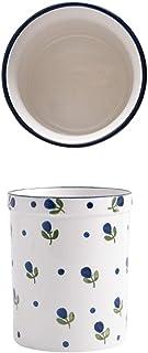 Ceramic Utensil Holder Crock - Vintage Style Kitchen Utensil Caddy - Antique Design Cooking Utensil Organizer (Utensil Crock D)