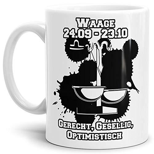 Tassendruck Sternzeichen-Tasse Waage - Weiss - Geburtstag/Astronomie/Sternen-Bilder/mit Spruch/Witzig/Kaffeetasse/Mug/Cup - Qualität Made in Germany