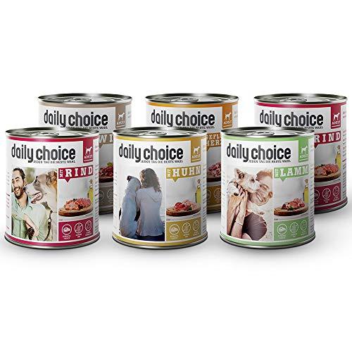 daily choice - 6 x 800 g - Nassfutter für Hunde - getreidefrei - Mix - 70{e458538002e9fcdf1b65fe57a14e1fe0fdc526f67289ca4564539962a0b06659} Frischfleisch- und Innereienanteil Optimale Verträglichkeit