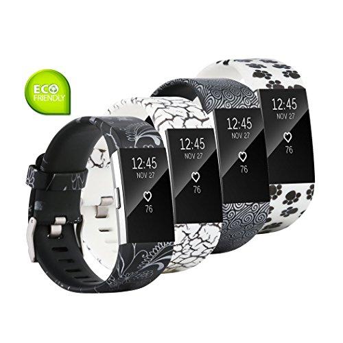 Fit-power - Correa de repuesto para Fitbit Charge 2, accesorio ajustable para pulsera de actividad física Fitbit Charge 2, pequeña y grande, Pack of 4C, Small Size