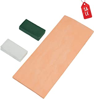 Genuine Leather Strop with Polishing Compounds Stropping Knife Sharpening Kit with Smooth & Rough Side 3 x 8 Inch Long for Honing Sharpening Knives Scissors Straight razor Strop Stropping