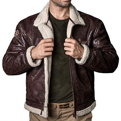 FREE SOLDIER Men Classic Bomber Jacket Autumn Winter Tactical Pilot Jacket(Brown M)
