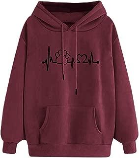 Hoodies for Womens, Teen Girls Lips Heart Print Front Pocket Junior Drawstring Hooded Sweatshirt Pullover Tops