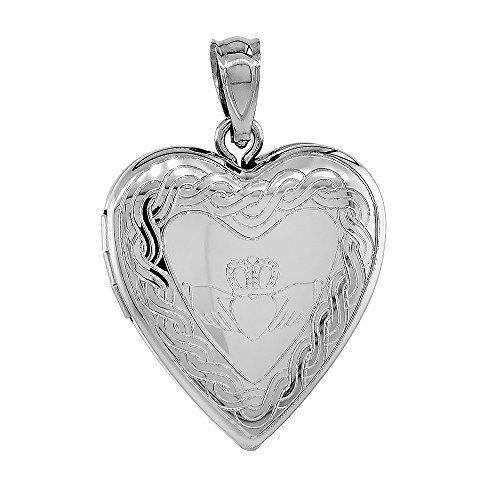3/4 inch Sterling Silver Claddagh Locket Heart Shape Necklace Celtic Knot Motif 20 inch RL_30H