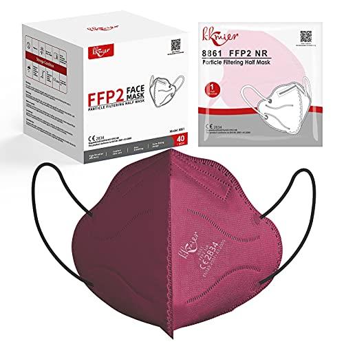 KKmier FFP2 Maske Einweg-Atemschutzmasken CE Zertifikat 5-lagige Mundschutzmasken Rot Einzel Verpakt 40 Stück
