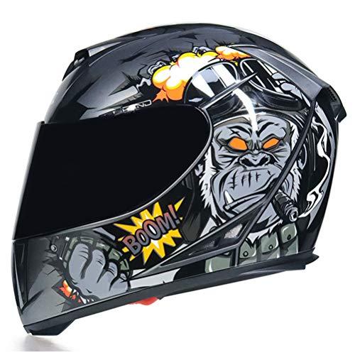 Integralhelm Motorrad mit Doppelscheibe Stilvoller Rennhelm mit Schnellverschluss Casco Moto Motorradhelme Herren/Damen Integralhelm