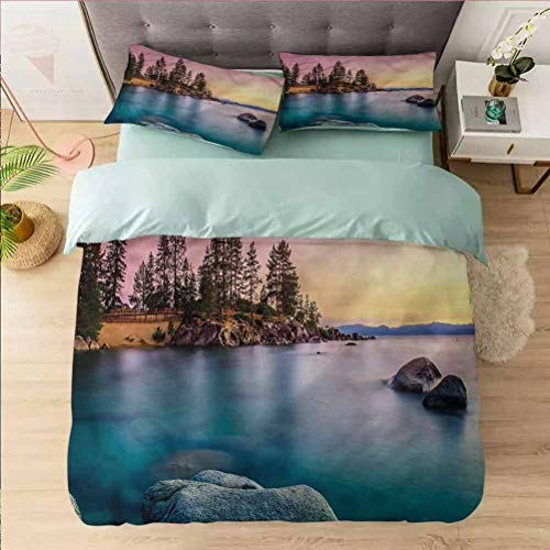 Aishare Store Bedding Duvet Cover 3 Piece Set Californai King, Lake Tahoe,Surreal Nature Pastoral, Comforter Cover Set 1 Duvet Cover with 2 Pillowcases Bedding Collection