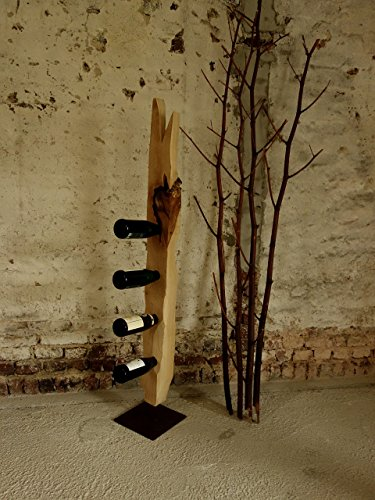 Ahorn Massivholz Weinflaschen-Ständer, Treibholz-Applikation , Weinflaschensäule mit Eisenfuß korrodiert, 150 cm Handmade in Germany