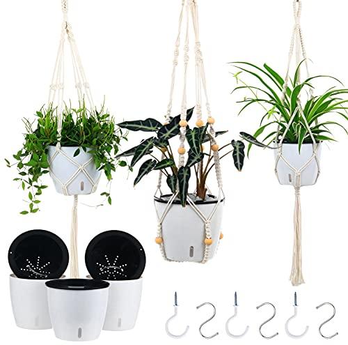 Plant Hangers Indoor with 6.7' Self Watering Pots for Indoor Plants, 3 Pack 39'...
