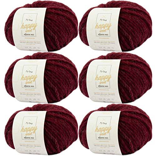 Alapacawolle zum Stricken -6x Happy Wool alpaca mix kaminrot (Fb 41)- 6 Knäuel Wolle dunkelrot + GRATIS Label – Wolle mit Alpaka – 50g/80m – Nadelstärke 7-8mm –Mischwolle zum Stricken – Wolle stricken