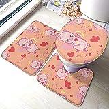 RedBeans Lot de 3 tapis de bain antidérapants en flanelle Motif petit ange cochon