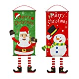Toyvian 2 Stücke Weihnachten Flagge Weihnachtsmann Schneemann & Elch Fahne Stoff Hängende Verzierung Dekoration Weihnachtsdeko Weihnachtsschmuck für Fensterdeko Türdeko