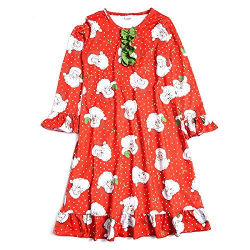 U/N Girls'ChristmasNightgownSoftCottonSantaClausSleepwear 6 Years Old Red
