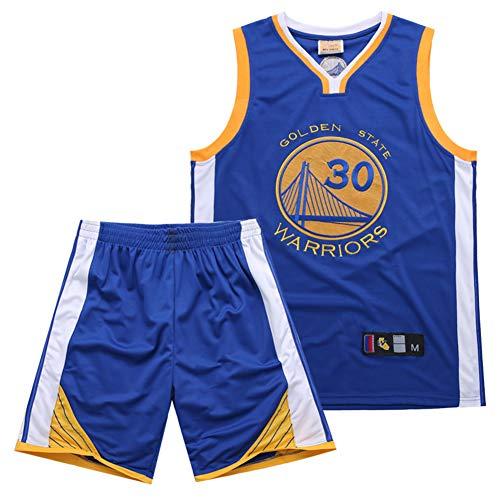 Warriors - Traje de baloncesto para hombre con bordado de punto 30, transpirable, para verano, para baloncesto, color azul