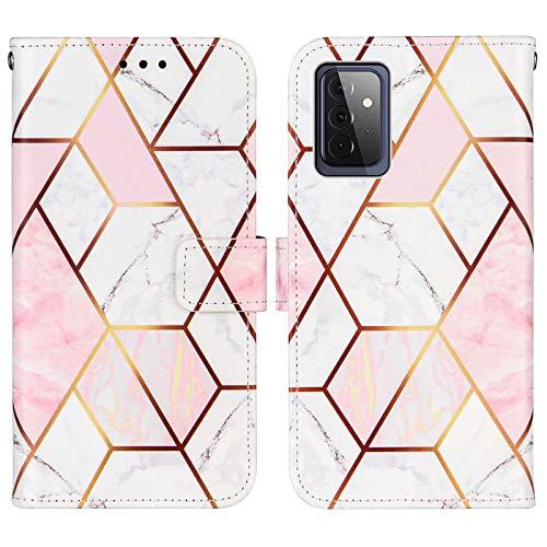WJMWF Compatible con Funda Samsung Galaxy A72 5G Costuras Mármol PU Cuero Wallet Flip Caso Cierre Magnético Ranura para Tarjetas con Correa Mano Antigolpes Case Rosa y Blanco