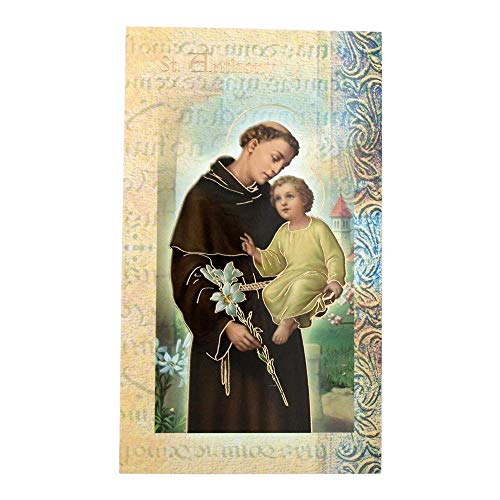 William J. Hirten Deluxe Catholic Holy Card with Traditional Prayers (Saint Anthony)