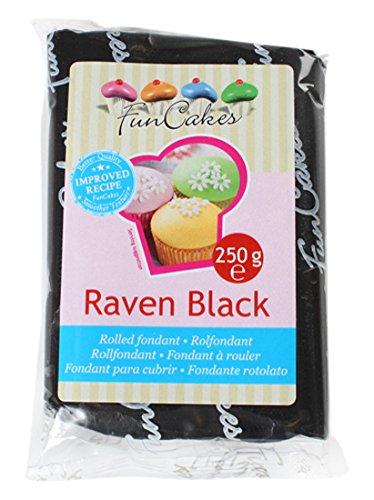 FunCakes Fondant para Cubrir Tartas, Cupcakes, Galletas o Modelar color Negro: Sabor Vainilla, Flexible, Sin Gluten, Halal, Kosher D, Apto Véganos, 250g