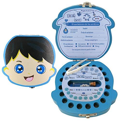 Caja para Dientes,Caja para Dientes de Leche en Español,Caja para Guardar Dientes para Niños y Niñas,Caja de Madera Para Guardar Dientes (Niño)
