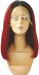 Remeehi Short Straight Bob Full Head Wigs None Lace Full Head Wig For Women Wine Red 12inch