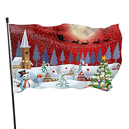 Christmas Snowman Winter, Red Christmas Tree Santa Clause Reindeer 3x5 Feet Flag, Polyester 3 X 5 Ft Flag For Outdoor Indoor Home Decor