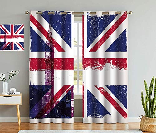 """Fogoodecor Union Jack Blackout Curtains, Grungy Aged UK Flag Big Ben Double Decker Country Culture Historical Landmark Thermal Insulated Light Block Blinds, 2Pcs Each 36"""" Wx63 L Multi"""